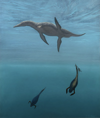 Pliosaur and Hesperornis