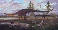 Diplodocus and Two Allosaurs